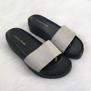 Donald J. Pliner Silver Slip On Sandals